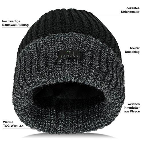 4 Térmica Hombre Invierno Gorro de con negro nbsp;tog 3 negro relleno extracálido Beanie algodón única talla qpvnwf4