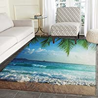 Ocean Rugs for Bedroom Palms Tropical Island Beach Seashore Water Waves Hawaiian Nautical Marine Circle Rugs for Living Room 4x6 Blue Green Turquoise