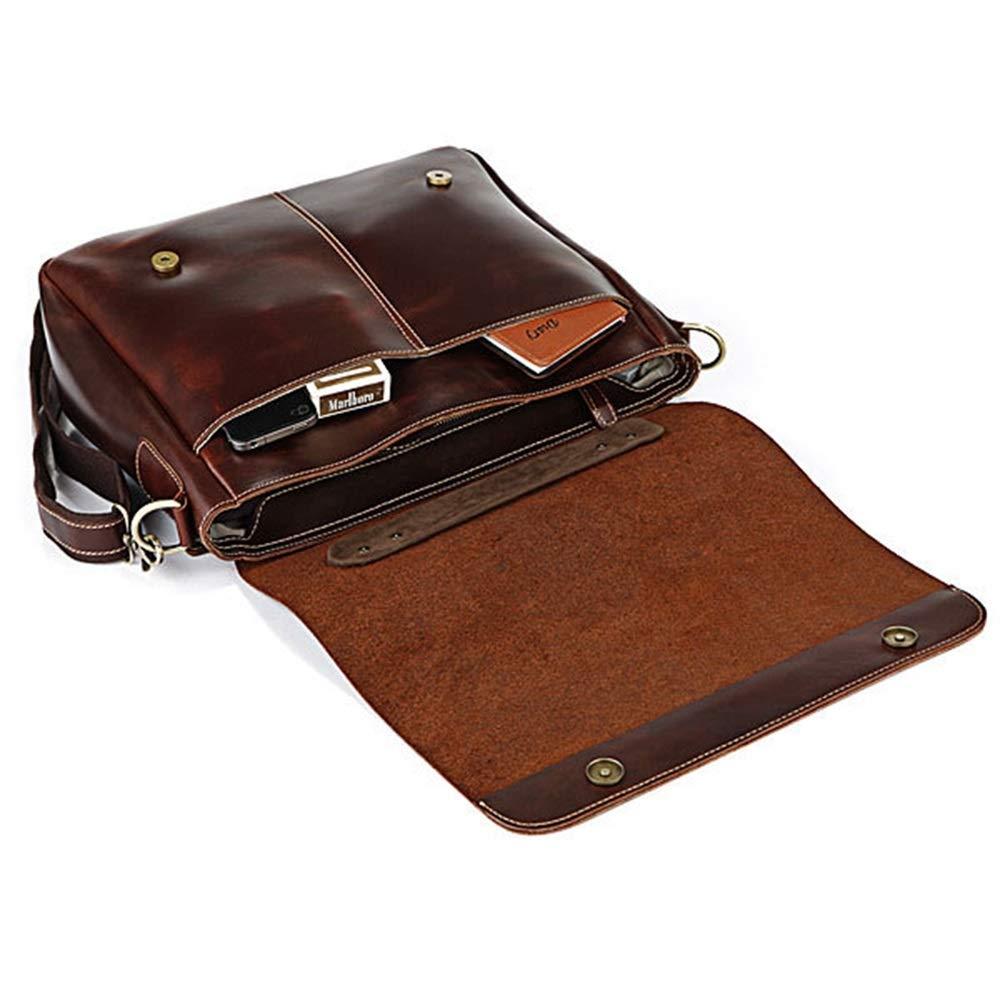 Color : Wine Red RICHARD BALDWIN Mens Cowhide Business Handbag