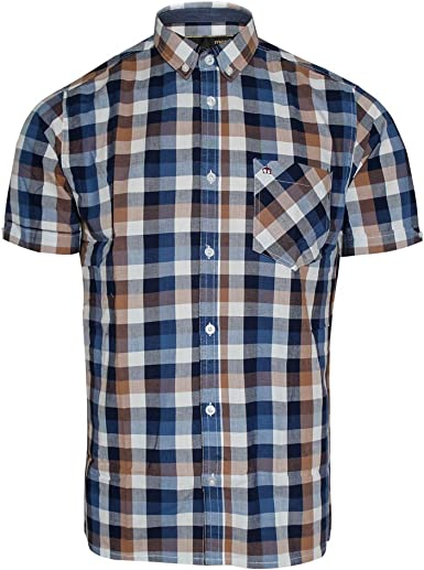 Merc of London Ashford, S/S Square Check Shirt-Camisa Casual Hombre marrón XS: Amazon.es: Ropa y accesorios