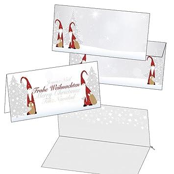 Einlegeblätter Für Weihnachtskarten.25 Klappkarten Weihnachtskarten Wichtel Mit Umschlag Und