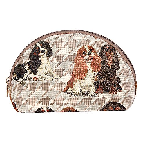 Signare Tapestry Makeup Bag Travel Cosmetic Bag Brush Bag for Women Girls in King Charles Spaniel Design ()