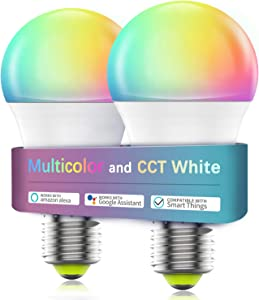 Smart Light Bulbs WiFi & Bluetooth, Magic Hue RGBCW Color Changing LED Bulbs, Dimmable Smart Bulb Works with Alexa Google Home Siri, A19 E26 7w 60W Equivalent, No Hub Required 2 Pack