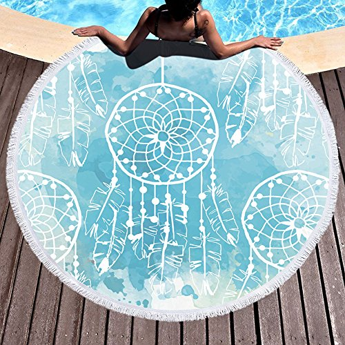 GoGoTowel Handicrafts Yoga Round Blanket Mat Dreamcatcher Feather Soft Microfiber Beach Oversized Circle Picnic - Blanket Elephant Boa