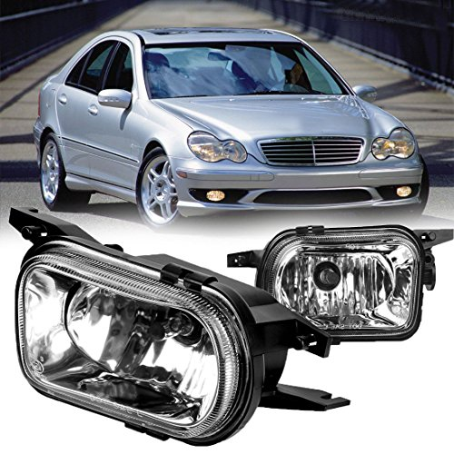 AUTOSAVER88 Factory Style Fog Lights For Mercedes Benz W203 C-Class 2001-2007 (Clear Glass Lens w/ Bulbs)
