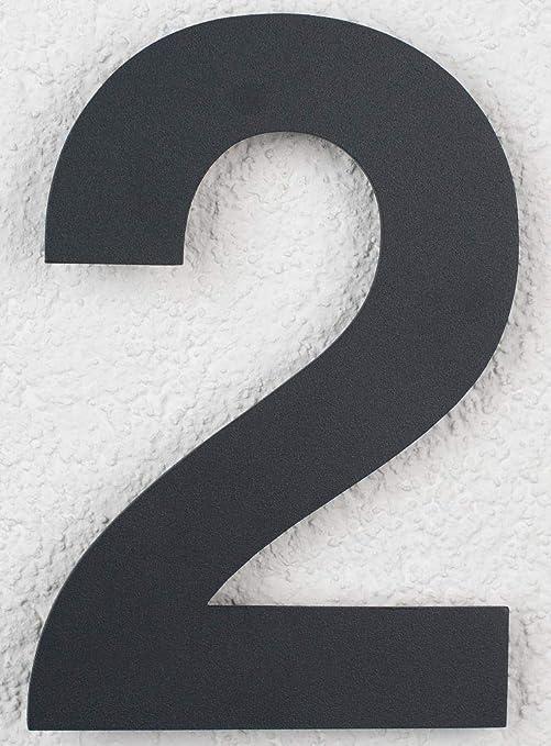 6 Trinoxx Design V2A Edelstahl Hausnummer Feinstruktur beschichtet RAL 7016 anthrazit grau 16cm