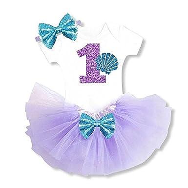 8d9cd6ac7b37 Bows & Bowties Girl's 1st Birthday Outfit Tutu Dress Cake Smash Bow  Headband (Little Mermaid