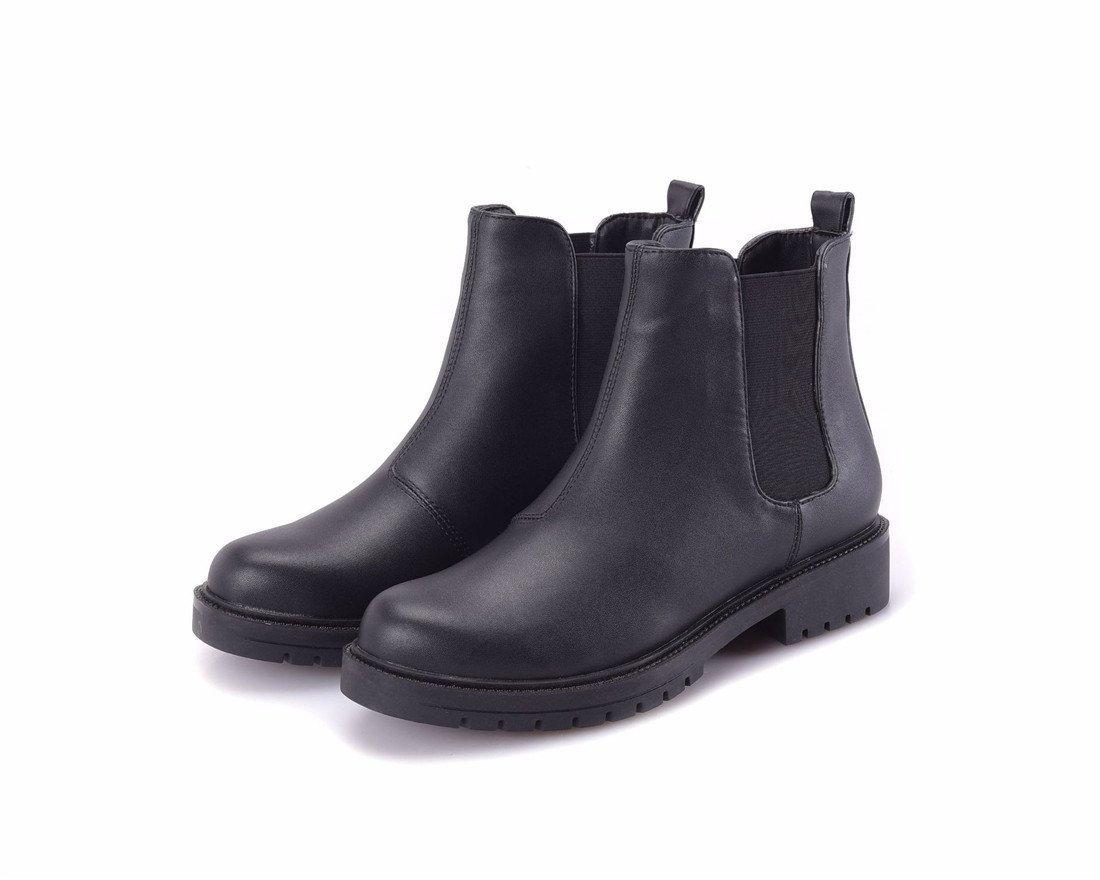 Sandalette-DEDE Botas Casual otoño Invierno, Botas de Fondo Plano, Cabeza Redonda, Botas de Mujer de Tubo bajo, Negro, Treinta y Cinco US5.5 / EU36 / UK3.5 / CN35