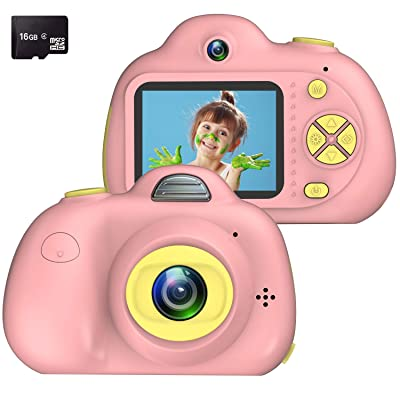 Kids Camera, Dual Cameras 8MP Rechargeable 1080p HD Kids Video Cameras Shockproof Kids Digital Cameras - Best Gift for 4-10 Years Old Girls Boys Party Outdoor Play 16GB TF Card Included (Pink): Toys & Games