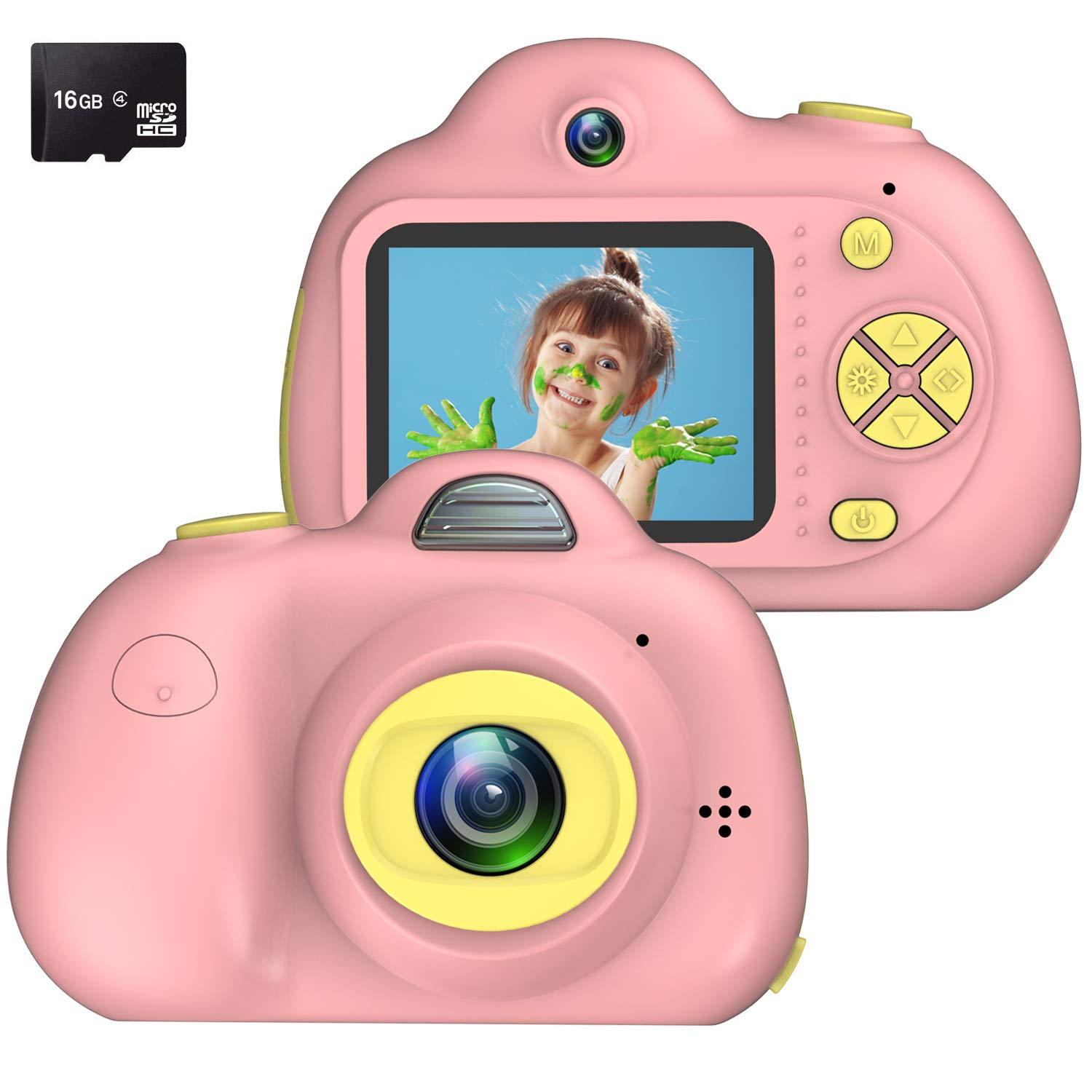 Kids Camera, Dual Cameras 8MP Rechargeable 1080p HD Kids Video Cameras Shockproof Kids Digital Cameras - Best Gift for 4-10 Years Old Girls Boys Party Outdoor Play 16GB TF Card Included (Pink)