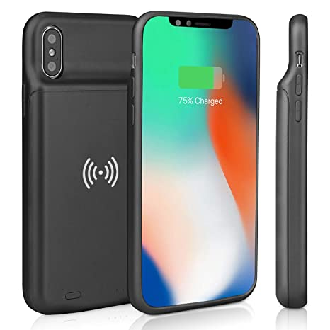 Epuirie - Funda de batería para iPhone X/XS, batería Recargable de 3600 mAh, Cargador de batería Externo, Carcasa para batería de Reserva Negro