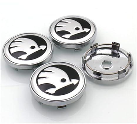 yongyong218 4x60mm Skoda Wheel Center Caps Logotipo Emblema Insignia Tapas del Cubo Tapas del Borde Octavia