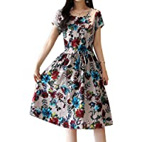Filfeel Vestido de Mujer, Estampado Floral de Moda Casual, Cuello Redondo Un Vestido Largo de Manga Corta
