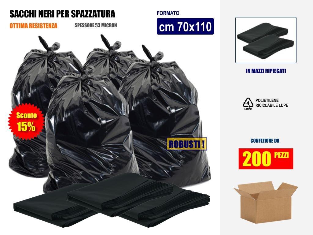 SCONTO 15% Sacchi Neri Resistenti per Rifiuti Spazzatura Immondizia Cm 70x110 (110 litri) - Scatola da 200 sacchetti - In plastica di Polietilene LdPe Imbalshopper Srls
