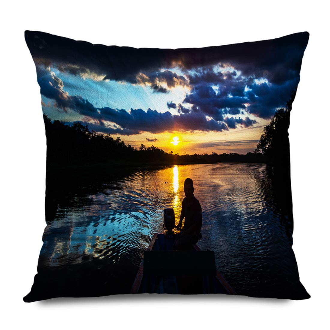 Ahawoso Throw Pillow Cover Square 18x18 Inches Green Canoe Reflection Sun Sunset Limoncocha Lagoon Ecuadorian Nature Bird Red Adventure Amazonian Decorative Zipper Pillowcase Home Decor Cushion Case
