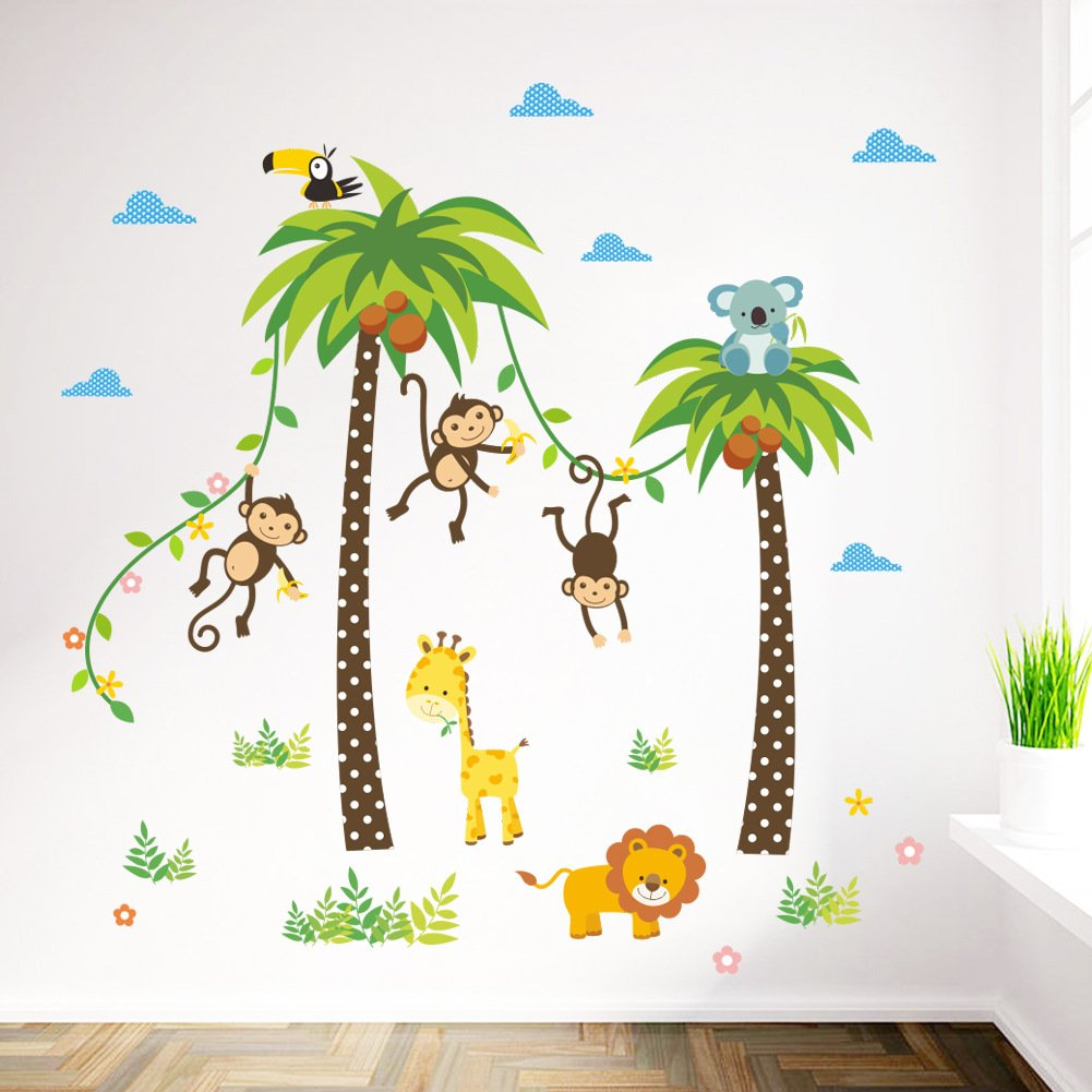 elecmotive cartoon forest animal monkey owls hedgehog tree swing nursery wall. Black Bedroom Furniture Sets. Home Design Ideas