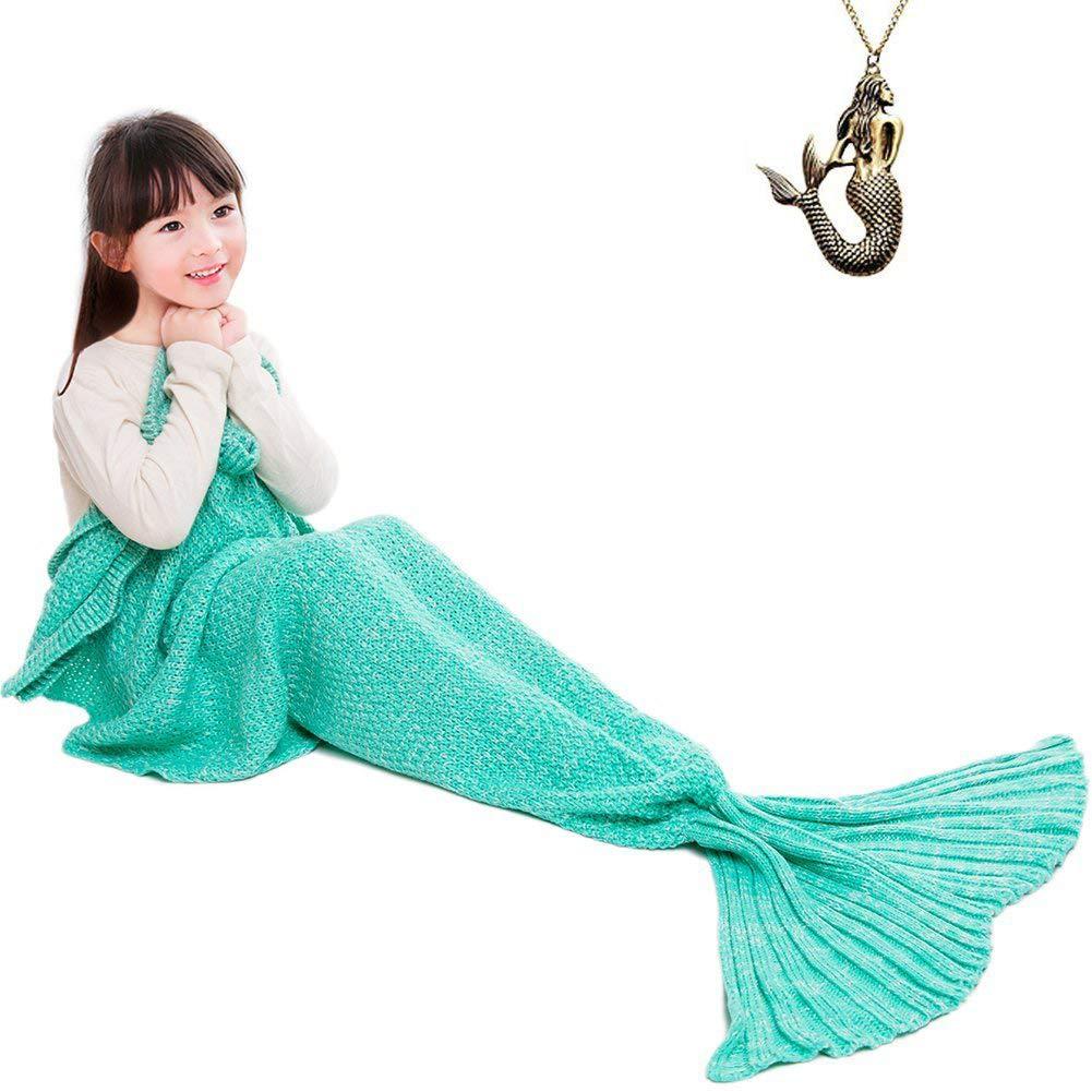 JR.White Mermaid Tail Blanket Kids,Hand Crochet Snuggle Mermaid,All Seasons Seatail Sleeping Bag Blanket (Mint White)