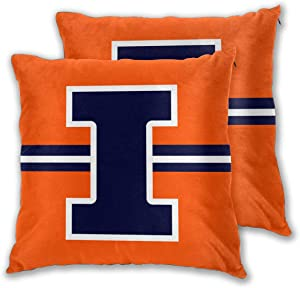 "Xihe Fashion Illinois Football College Team Throw Pillowcase Set of Zipper Double-Sided Printing Pillow Cases Home Decorative Pillow Covers Without Insert ( 18"" X 18"" Illinois Fighting Illini )"