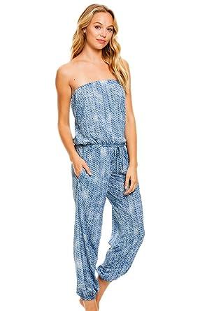 fe3c4ccc91e9 Amazon.com  ELAN Large Blue Bahama Strapless Jumpsuit with Pockets ...