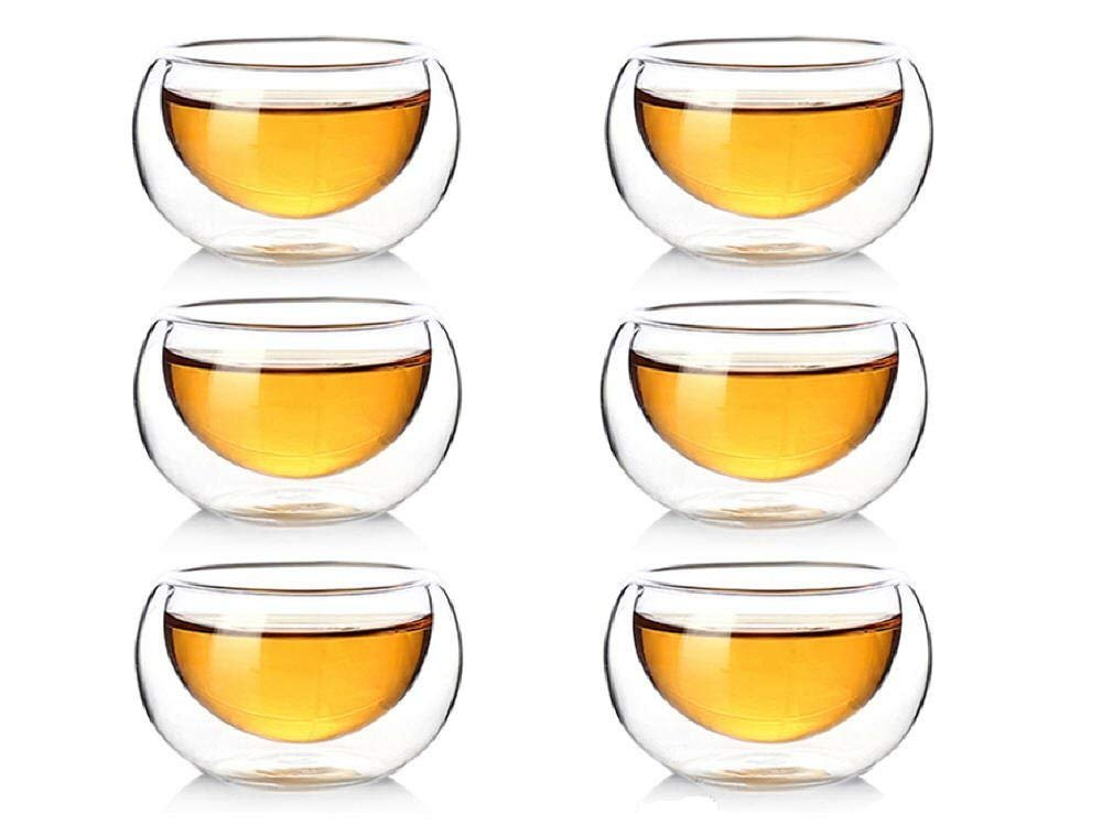 Zen Room Double Wall Glass, Borosilicate Glass Tea Cups 2oz, Set of 6/Insulated Thermal & Heat Resistant Design