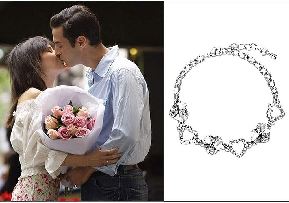 Shuxy Crystal Bracelet Heart Bracelet Cubic Zirconia Bracelet Charming Bracelet Glamour Crystal Bracelet Heart Hand Chain Endless Love Series Bracelet for Women Teens Girls Mother Gifts for Her