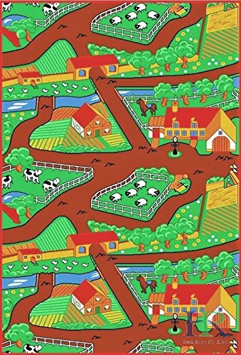 Handcraft Rugs Kids Rugs by My Farm Pattern of Road Driving Fun Brown/Green and Multi Anti Slip Rug/Game Carpets for Kids/Kids Toy/Kids learning Floor mat (Approximately 3 feet by 5 feet) by Handcraft Rugs (Image #2)