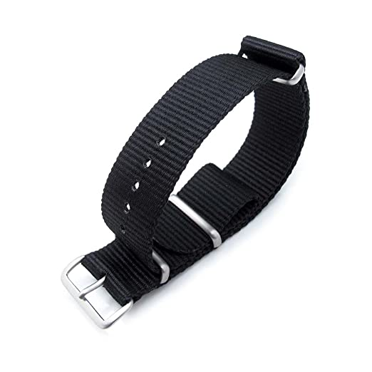 3 opinioni per MiLTAT 22 mm NATO Military Watch Band, G10, in Nylon balistico, colore: nero