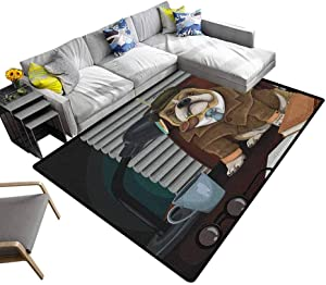 Faux Area Rug English Bulldog, Baby Floor Playmats Crawling Mat Traditional English Detective Dog with a Pipe and Hat Sherlock Holmes Image Ultra Soft, Luxury Carpet for Home Multicolor, 4 x 6 Feet