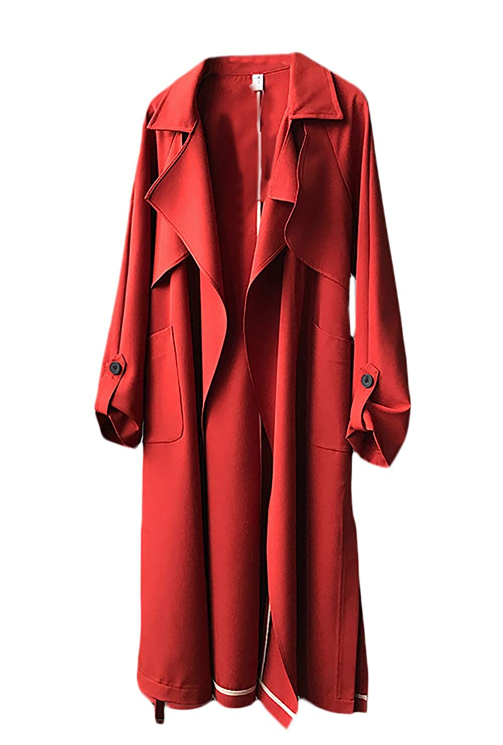 Femme Longues Manche Uni Couleur Trench Outwear Bolawoo Mode Unie lJFKT1c