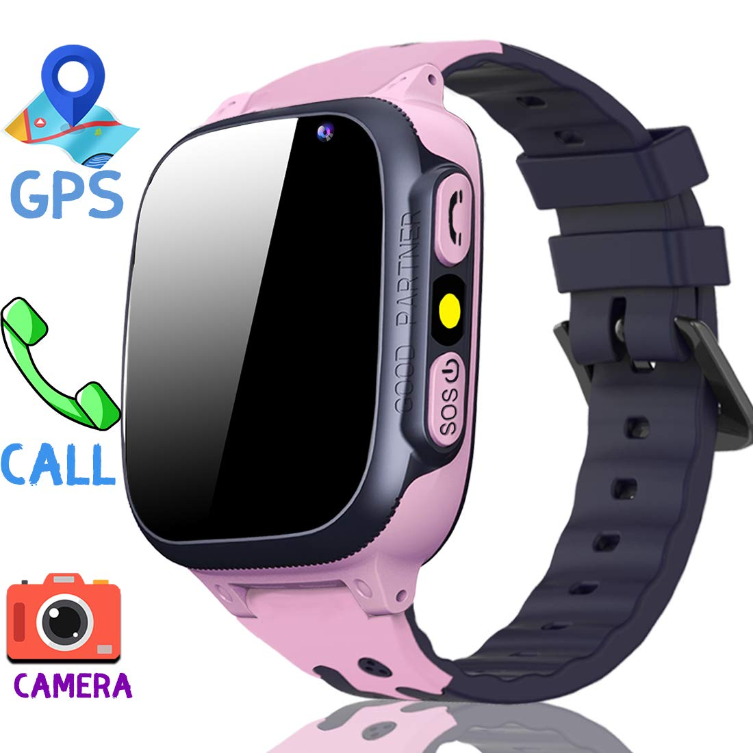 MiKin Children Smart Watches for Girls Boys Age 3-12 Kids Smartwatch Phone with GPS Tracker 2 Way Call SOS Remote Camera Touch Screen Alarm Clock Flashlight Voice Chat Gizmo Wrist Watch Android iOS by MiKin (Image #1)