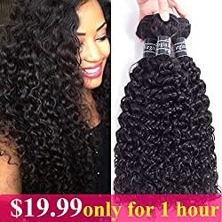 Amella Hair 100% Unprocessed Virgin Brazilian Curly Hair Weave 3 Bundles(16 18 20,300g) 8A Grade Brazilian Virgin Human Hair Weave Natural Black Hair Color Can be Dyed and Bleached