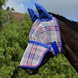 Kensington Average Signature Fly Mask with Removable Nose & Soft Mesh Ears, 2015-Patriot Plaid, Large