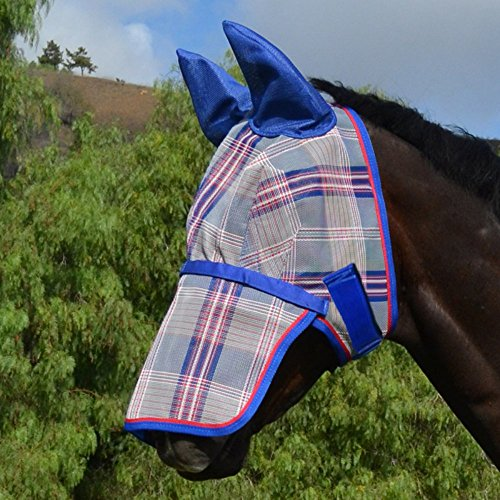 Kensington Average Signature Fly Mask with Removable Nose & Soft Mesh Ears, 2015-Patriot Plaid, Large by Kensington