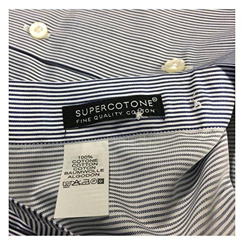 XACUS camicia uomo rigata bianco/blu 100% cotone vestibilità slim 41/16