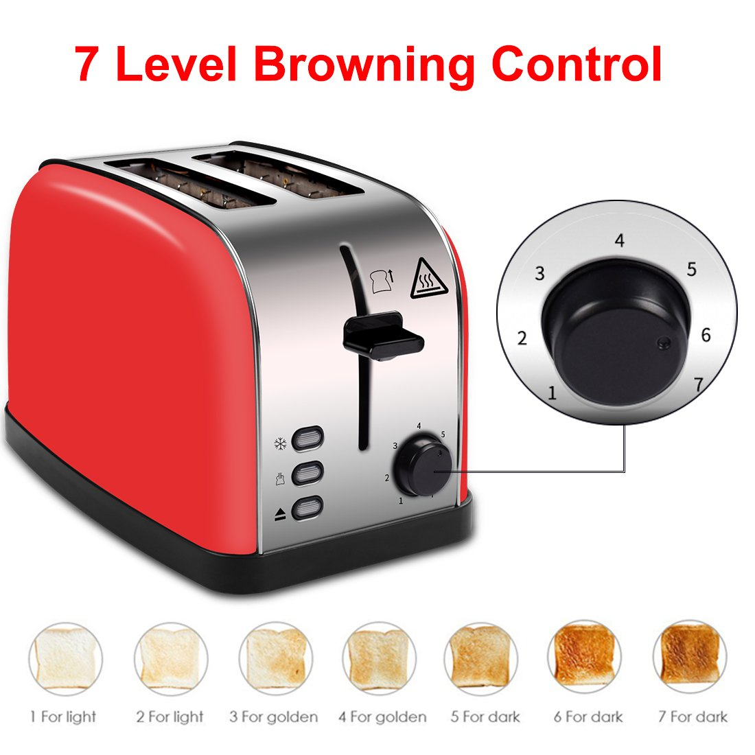 LATITOP Red 2-Slice Toaster Brushed Stainless Steel with Extra Wide Slots, Removable Crumb Tray, Led Indicator, Auto Shut-Off, Toast Browness Setting, High Lift Lever