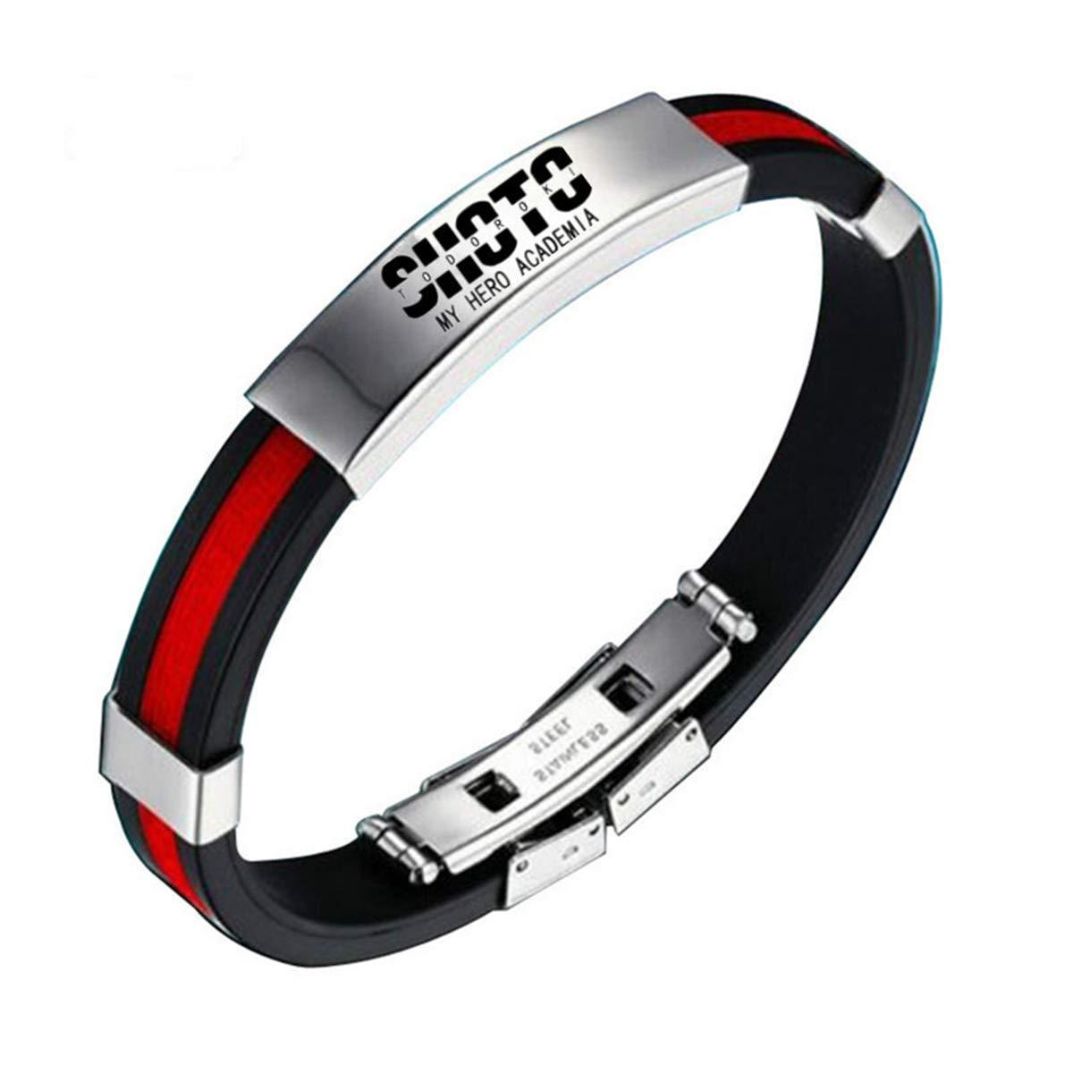 Onlyfo My Hero Academia Bracelet en acier inoxydable et gel de silice avec bo/îte /à bijoux