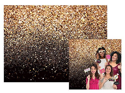 Black Gold Sequin Backdrop Curtain Bokeh Photo Booth Background for Graduation Decorations Black and Gold | Wedding Bridal Shower Decoration | Bachelorette Party Decorations Gold 7x5Ft 028]()