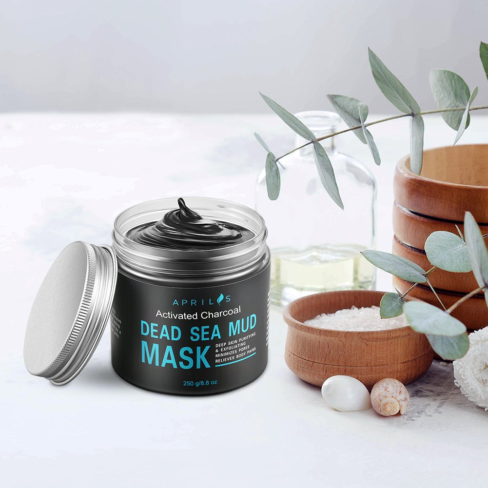 Dead Sea Mud Mask with Activated Charcoal, Deep Cleansing Clay Face Mask for Reduction in Pores, Spots, Blackheads & Acne, Rejuvenated to Smooth & Moisturizing Face, 8.8 fl.oz.