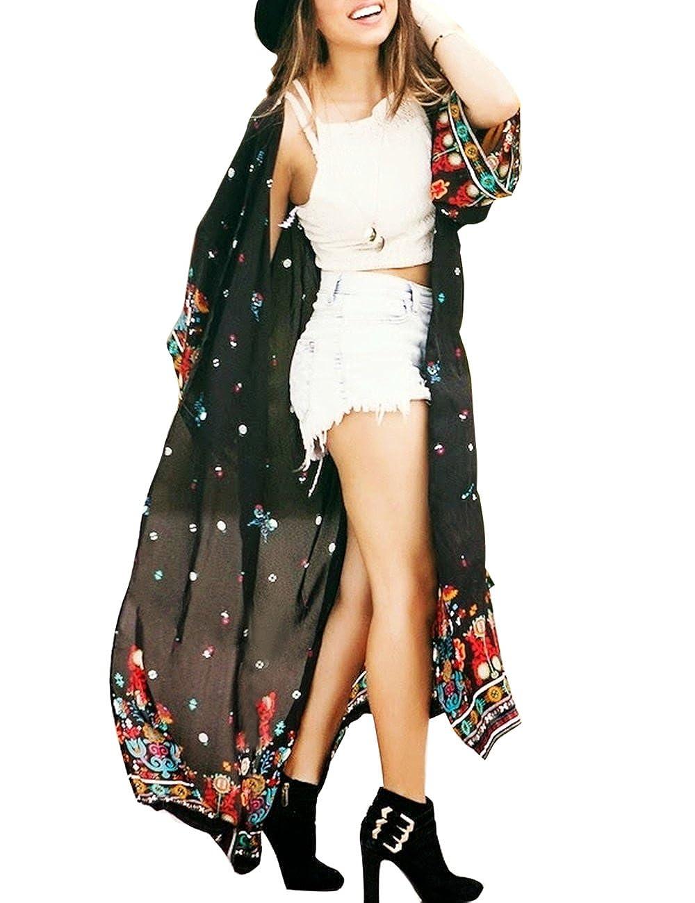 shermie Women's Long Print Chiffon Kimono Kaftan Swimwear Beach Cover Up Cardigan