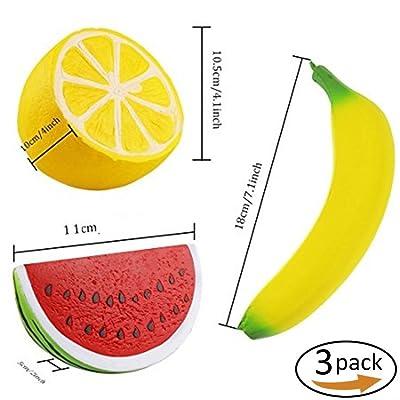 3pc Fruits Squishy Lente Rising Décorations Pastèque Bananes Citron Squishie Doux Reliever Boules Jouets pour Enfants Adulte Fête D'anniversaire Faveur Sacs Cadeaux Peluches Squeeze Toys