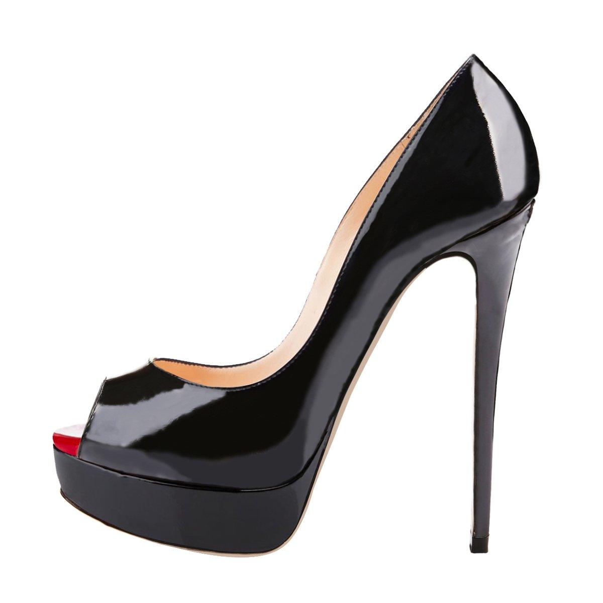 onlymaker Women's Sexy High Heels Peep Toe Slip On Platform Pumps Stiletto Dress Party Wedding Shoes Black US10