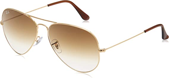 TALLA 62. Ray-Ban Gafas de sol de aviador clásico en oro marrón degradado RB3025 001/51 62