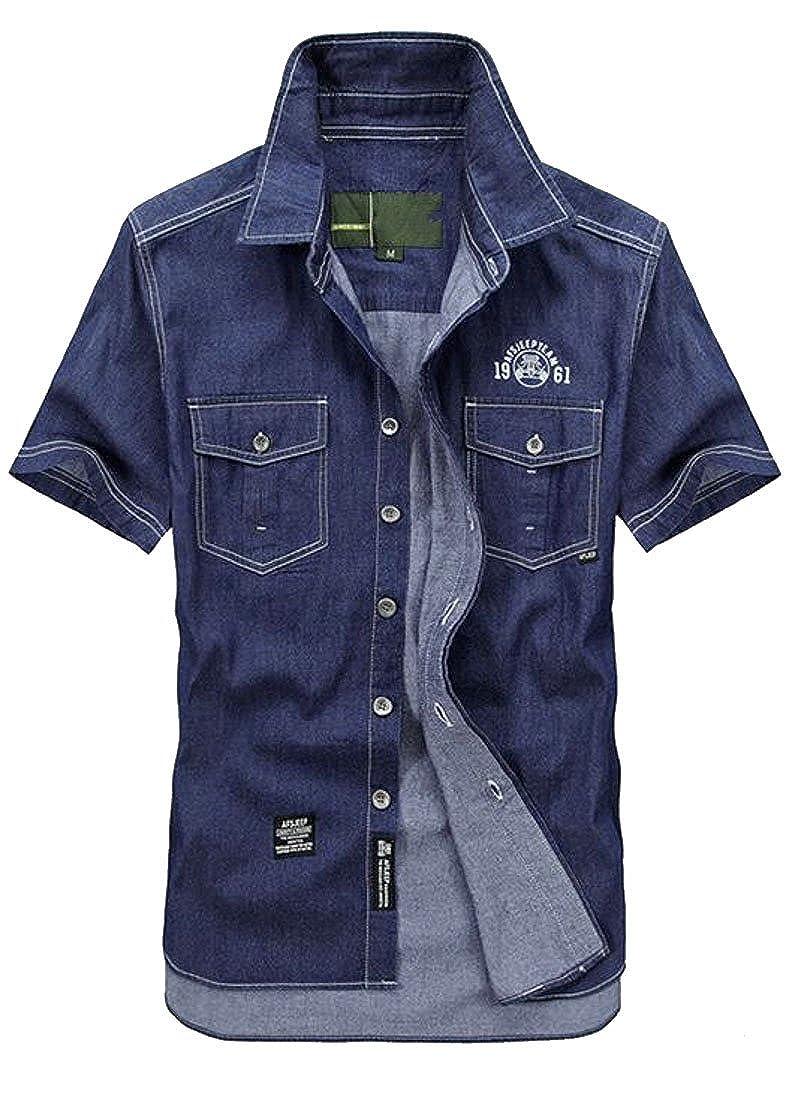 Bloomyma Men Denim Relaxed Fit Short Sleeve Classic Button Down Shirt Top Tees