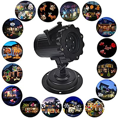 Christmas Projector Light,WONFAST Waterproof LED Landscape Spotlight Lamp Light Effect with 16 Replaceable Slides for Indoor Outdoor Halloween Birthday Party,Weeding Garden Home Wall Decoration