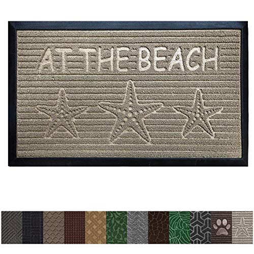 Gorilla Grip Original Durable Rubber Door Mat, Heavy Duty Doormat for Indoor Outdoor (35 x 23) Waterproof, Easy Clean, Low-Profile Mats for Entry, Garage, Patio, High Traffic Areas (Beach Sand)
