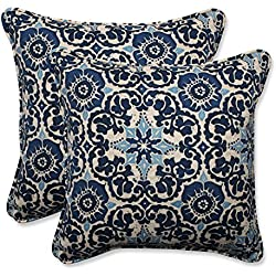"Pillow Perfect Outdoor/Indoor Woodblock Prism Throw Pillow (Set of 2), 18.5"", Blue"
