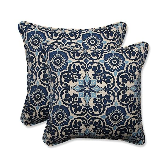 "Pillow Perfect Outdoor/Indoor Woodblock Prism Throw Pillow (Set of 2), 18.5"", Blue - Includes two (2) outdoor pillows, resists weather and fading in sunlight; Suitable for indoor and outdoor use Plush Fill - 100-percent polyester fiber filling Edges of outdoor pillows are trimmed with matching fabric and cord to sit perfectly on your outdoor patio furniture - living-room-soft-furnishings, living-room, decorative-pillows - 61mDbiqCbUL. SS570  -"