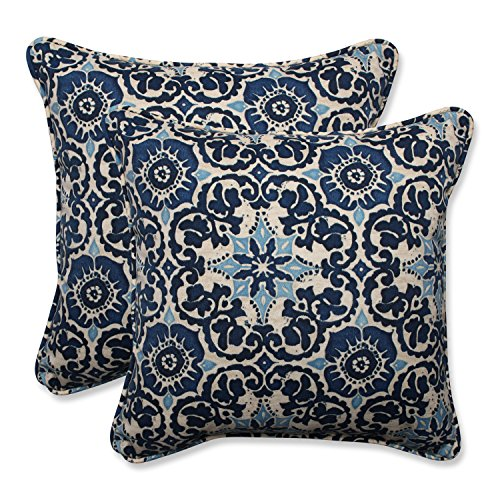 "61mDbiqCbUL - Pillow Perfect Outdoor/Indoor Woodblock Prism Throw Pillow (Set of 2), 18.5"", Blue"