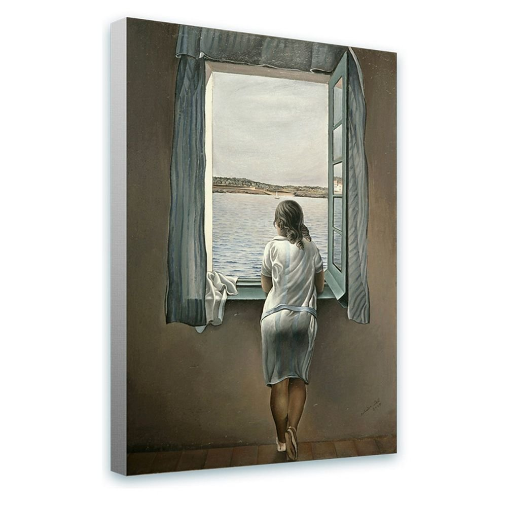Alonline Art - Woman at The Window Salvador Dali Framed Stretched Canvas (100% Cotton) Gallery Wrapped - Ready to Hang | 12''x18'' - 30x46cm | Framed Print for Living Room Framed Paintings Framed Art