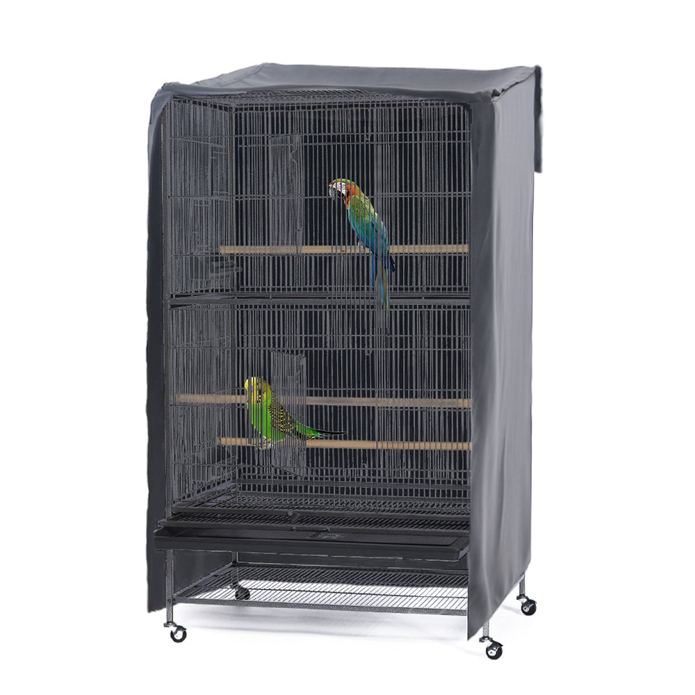 PONY DANCE Pets Product Universial Birdcage Cover Blackout & Breathable Birdcage Cover for Pets' Good Night, Large, Grey, 35 L x 25 W x 47 in H by PONY DANCE